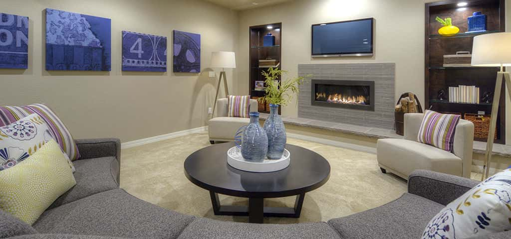 All homes at Cordera include a standard finished basement with nine-foot ceilings. The Carnegie specifically includes a spacious rec room, two bedrooms and a full bathroom. <br /> <br /> Perfect for entertaining, there are plenty of options to add more space to suit your needs.<br /> <br /> PHOTO COURTESY OF<br /> Campbell Homes
