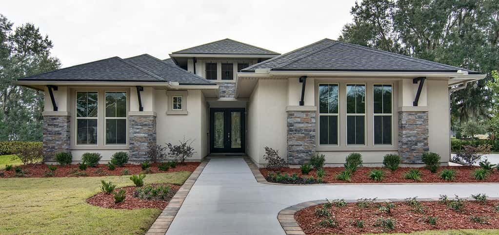 """Distinctive exterior detailing is our hallmark,"" says Rachel Krumpelbeck, marketing communication specialist for Drees Homes for Jacksonville. ""It's what will make your home's first impression a unique and lasting one.""<br /> <br /> With a unique porch, custom overhangs and stone and stucco, this exterior is one way you can ensure your home has ultimate curb appeal. Since it's located in Magnolia Point, with plenty of amenities to stay active, you'll be proud when neighbors walk or jog by.<br /> <br /> PHOTO COURTESY OF<br /> Drees Homes"