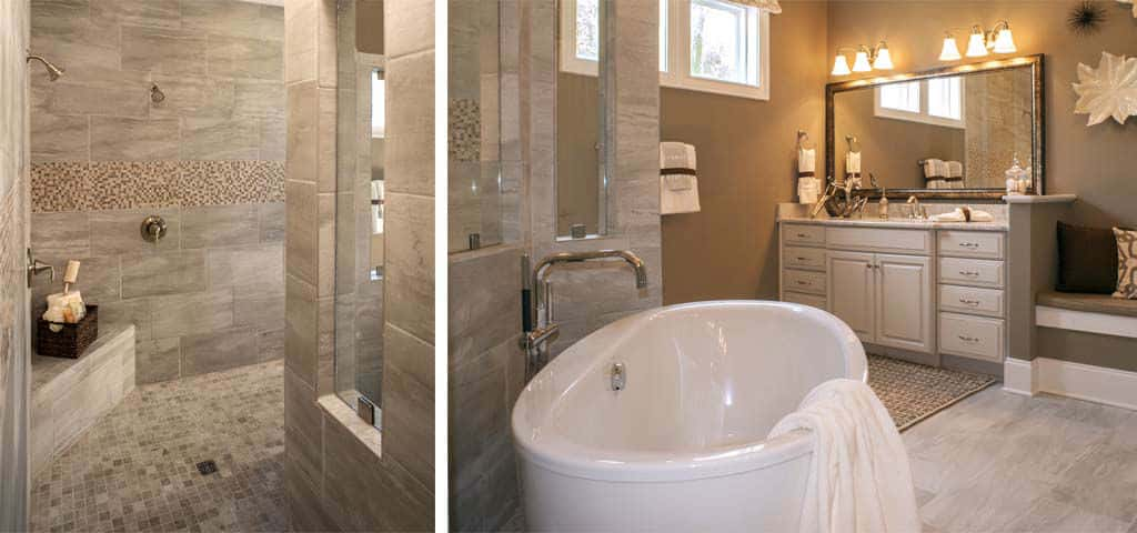 <p>A walk-through tile shower, separate vanities, bench space and separate walk-in closets are just a few of the outstanding features in the master bath. Full overlay maple cabinets and granite cabinet countertops are just a few more.<br /> <br /> Other upgrades buyers tend to splurge on in this spa-like suite are 12-inch by 24-inch tiles, free-standing tub with hand-held sprayer, spa jets and rectangular sinks.</p> <p >PHOTO COURTESY OF<br /> Drees Homes</p>