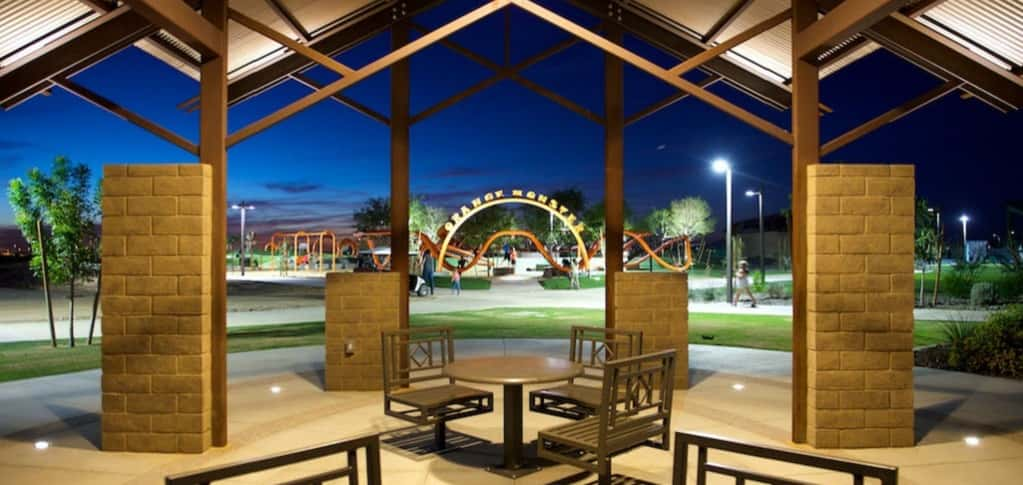 "A community pavilion at Eastmark's Great Park is one of the many places where residents can spent time outside their home. Thoughtfully designed spaces, like this, can be seen throughout the community.<br /> <br /> ""We started off very simple, knowing that we have a special, very large, long-term community on our hands that would gradually be developed with the needs and demands of the marketplace,"" Bourgeois says. ""We're always planning 18 months or more in advance and have great vision for what this community can become.""<br /> <br /> PHOTO COURTESY OF<br /> Eastmark"