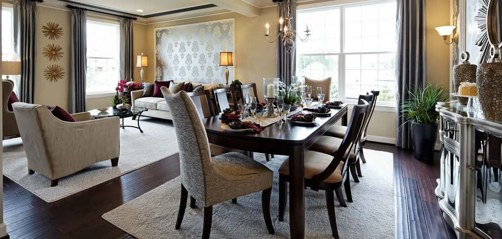 """This home has functionality year-round, not just during those two or three big holidays where you have folks over,"" Martinez says.<br /> <br /> Large windows and ornate design elements provide a classic, timeless look in the home's formal dining and living rooms for intimate dinners or visits with family and friends any time of year, yet provides enough space for big gatherings too.<br /> <br /> PHOTO COURTESY OF<br /> K. Hovnanian Homes"