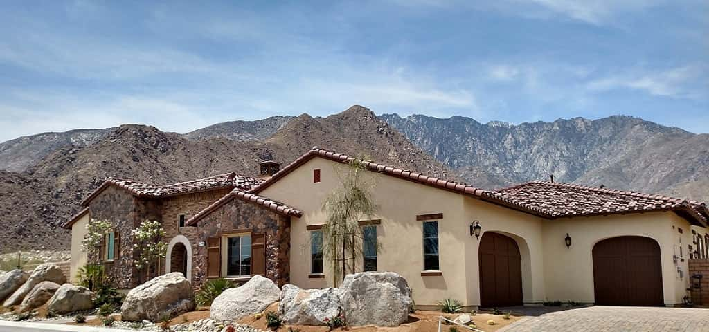 A Spanish-tile roof and a combination of stucco and stone are earthy elements to the exterior of the Plan 2 by Far West Industries. The three-bedroom home is situated at the foot of the San Jacinto Mountains in Palm Springs.<br /> <br /> The luxurious home is ideal for anyone who enjoys entertaining, but also who enjoys the outdoors: the home has easy proximity to hiking and biking trails.