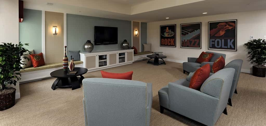 "Basements can become any type of space that fits your needs. If your need is a media room where you can watch the latest movies or catch your favorite sports team on game night, then the Montgomery plan by <a href=""https://www.newhomesource.com/resourcecenter/slideshows/home-of-the-week-montgomery-plan-by-kettler-forlines-homes"" target=""_blank"" title=""See More Homes by Kettler Forlines Homes"">Kettler Forlines Homes</a> has the ideal basement.<br /> <br /> With two wall sconces to provide soft lighting and plenty of comfy seating, this basement is the ultimate in home entertainment. Don't forget the popcorn!<br /> <br /> PHOTO COURTESY OF<br /> Kettler Forlines Homes"
