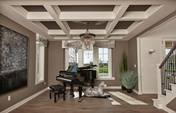 An elegant entertainment room in the Verona Plan 3000 by Bielinski Homes, Inc., features a black grand piano and optional box beam ceiling. A new home at Prairie Glenn in Port Washington, WI.