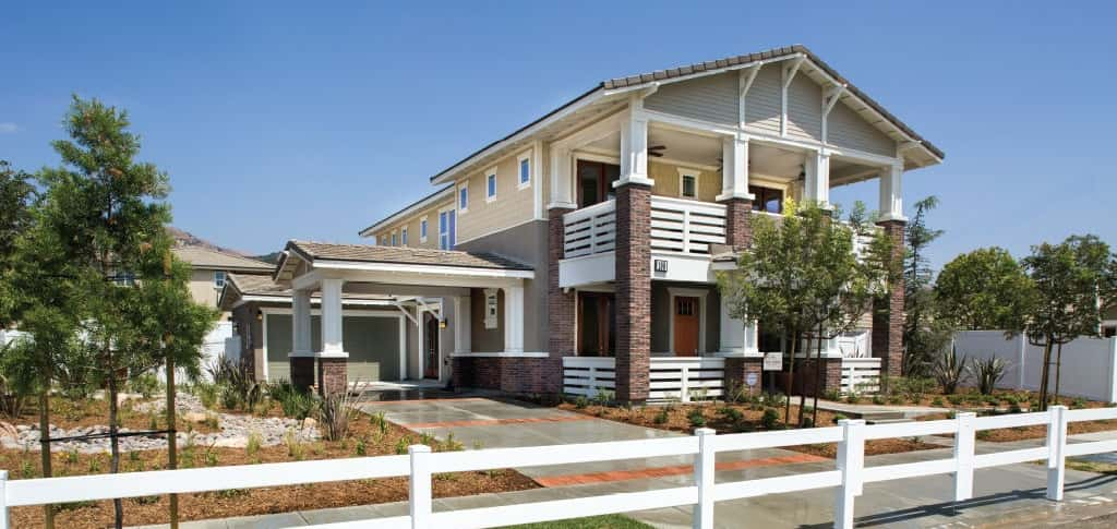 "<em>Residence 5 – Iron Horse Plan</em><br /> The Bridges; Fillmore Calif. <br /> <br /> •	4 bedrooms/3 baths<br /> •	2-car garage<br /> •	2,703 sq. ft. <br /> <br /> <em>Photo:</em> Exceptional features such as the porte cochère, front and back covered porches, and set the Iron Horse Plan by Comstock Homes apart from the rest. <br /> <br /> <a href=""https://www.newhomesource.com/plandetail/105-teakwood-street-fillmore-california/1446671#"" target=""_blank"" title=""Learn More About This Home on NewHomeSource"">Learn More About This Home on NewHomeSource</a><br /> <br /> <strong>Photo Courtesy of</strong><br /> Comstock Homes"