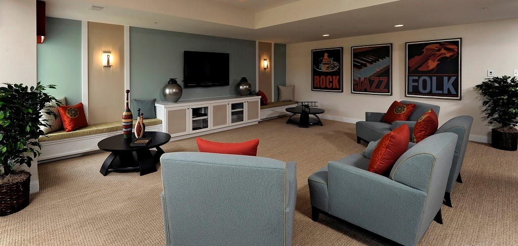 "In this spacious media room design from <a href=""https://www.newhomesource.com/communitydetail/builder-7484/community-43463"" target=""_blank"" title=""Kettler Forlines Homes"">Kettler Forlines Homes</a>, there's plenty of room to rock. Pull out the Playstation for a family game night — Rockband anyone? — or move the furniture around and invite the kids' friends over for a jam session. And if music isn't really your thing, take on a different décor style and just make this space your own because there's tons of room to grow.<br /> <br /> PHOTO COURTESY OF <br /> Kettler Forlines Homes"