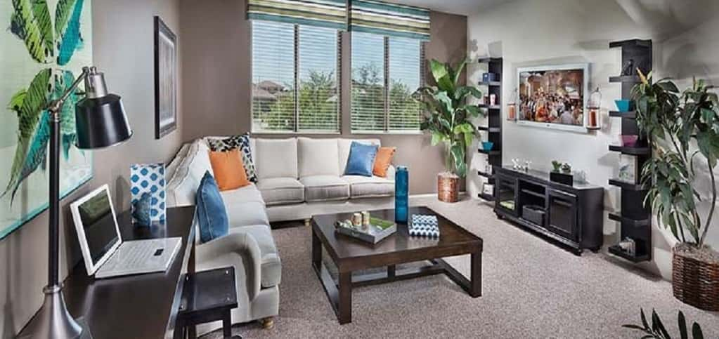"As part of Lennar's Everything's Included package, the <a href=""https://www.newhomesource.com/homedetail/planid-1061995"" target=""_blank"" title=""See More Photos of the Columba plan"">Columba plan</a> offers homebuyers everything they need – and want – in a home. The four-bedroom, three-bath home in Gilbert, Ariz., includes luxury features that don't cost extra, as well as smart home features with Nexia Home Intelligence and energy-efficient features, like low-E glass windows.<br /> <br /> The loft, shown here, is one way homebuyers can add more living space to their home – by styling it as a media room or even as an office space.<br /> <br /> Photo Courtesy of<br /> Lennar"