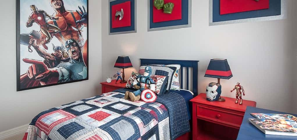 "Whether they're Team DC or Team Marvel, your lil' superhero would be proud to call this room in the Artesian Ranch community by <a href=""https://www.newhomesource.com/builder/maracay-homes/about/1918"" target=""_blank"" title=""Maracay Homes"">Maracay Homes</a> their own. Avengers? Check. Spider-Man? Of course. Batman? You better believe it. <br /> <br /> Help your own super kid create a room like this by displaying their favorite costumes and action figures. A blue-and-red color scheme can then help pull it all together.<br /> <br /> PHOTO COURTESY OF<br /> Maracay Homes"