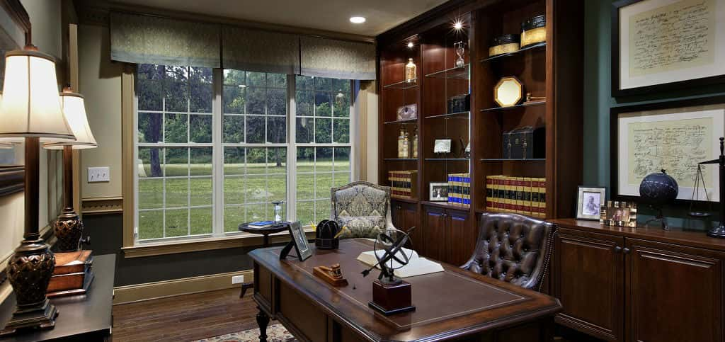 Though the Duke plan provides plenty of opportunity for entertaining, it also includes many spaces built to allow you to unwind and focus. Conveniently located adjacent to the main living room, the study promises to be an oasis for productivity. However, the space can also serve as an additional bedroom for those who need the extra space.<br /> <br /> PHOTO COURTESY OF<br /> Toll Brothers