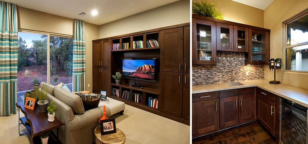 Left: The home's media room includes full surround sound.<br /> Right: A wet bar in the butler's pantry frees up space in the kitchen.<br /> <br /> PHOTO COURTESY OF<br /> Dorn Homes