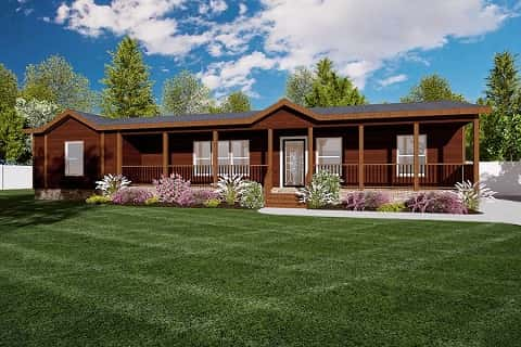 Red siding is reminiscent of a log-cabin home in this rendering of the exterior of The Cabin model by Clayton Homes. Austin, Texas.