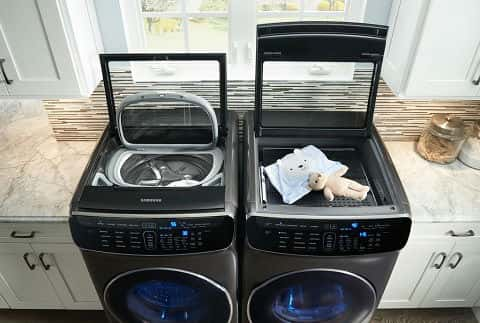Smart tech and dual load features make laundry less of a chore with Samsung's FlexWash and FlexDry machines.