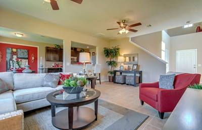 The great room in the Springfield plan by Centex Homes at Stone Place has a spacious, open-floor concept that makes it easy to stay connected with your family.