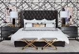 High Fashion Home's Boutique Chic bedroom design idea with white walls with black lines, Hollywood Midnight Nickel Metal Chest, Simone Bed, Vernon Flannel, Acadia Crocodile Bench in Black, Urchin Bright Gold Accessories Table Art, and Verona Velvet Decorative Pillow.