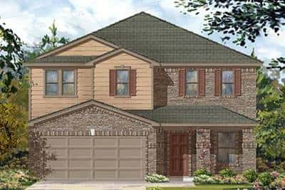 Stone and vinyl siding are a classic touch in this exterior rendering of KB Home's Plan 2961 at Cypress Creek Crossing in Houston.