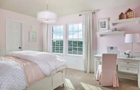 A new home by Centex Homes at Horizon Pointe in San Antonio is decked out in pink and white for a teen girl.