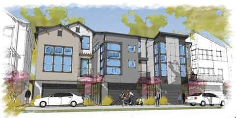 A rendering of The Gardens at Urban Crest community by David Weekley Homes in San Antonio imagines community residents walking about in the community, in front of new homes.