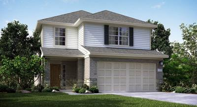 In this rendering of an Aransas plan exterior, a modern two-car garage door work with the home's store, brick and vinyl siding. By Lannar at Imperial Trace in Houston.