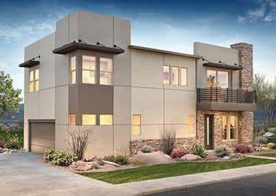 A unique stucco and stone siding exterior of the 1001 Altair Plan by Shea Homes stands out from the crowd in Phoenix.