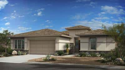 The Whistler plan by Taylor Morrison in Phoenix includes the option for a modern Southwest exterior with stucco siding with stone accents.