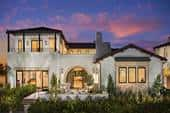 Home with modern look crossed with Spanish Colonial style is an example of transitional architecture