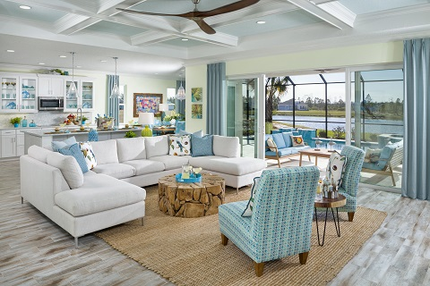 A great room in the Aruba home plan at Latitude Margaritaville in Daytona Beach, Florida