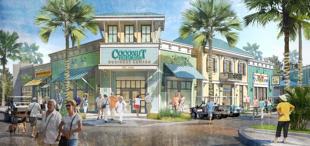 "The Latitude Margaritaville communities include a Workin' N' Playin' Center and a Coconut Telegraph Business Center. ""Many 55-plus individuals are not fully retired, so this amenity includes both a business center and recreational and activities center,"" says Bullock.<br /> <br /> ""There will be a range of programs, including arts and crafts, wellness programs, music lessons, mixology classes and other learning and entertainment programs offered,"" he says. In addition to the many in-community amenities, there will be a golf cart accessible Margaritaville-inspired neighborhood retail center with grocery store adjacent to the community.<br /> <br /> <strong>RENDERING COURTESY OF</strong><br /> Minto Communities"