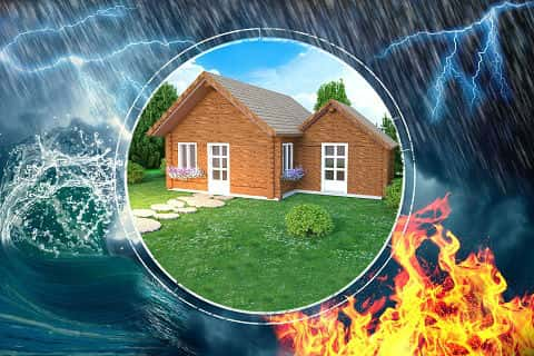 Illustration of a home that is sitting in a circle that's protecting it from flooding, fire and other natural disasters.