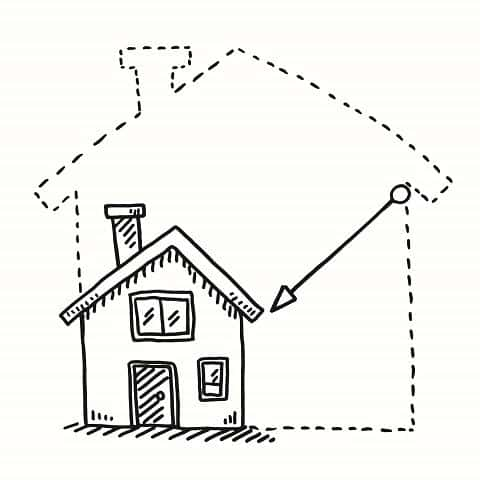 Hand-drawn vector drawing of a Tiny House Downsizing Concept. Black-and-White sketch on a transparent background.