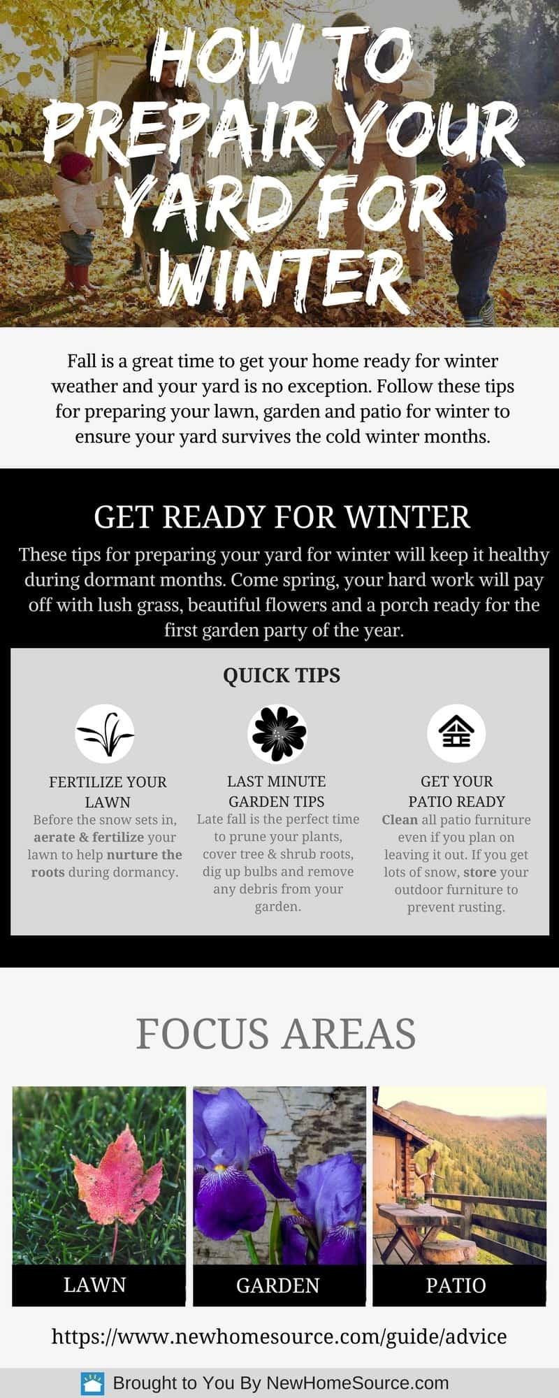 Infographic with quick tips on preparing your lawn for the winter.