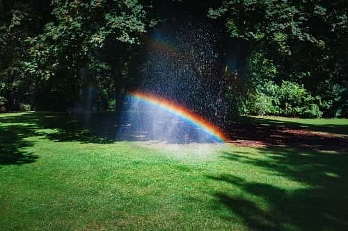 Green lawn with sprinkler rain on it creating a visual rainbow effect