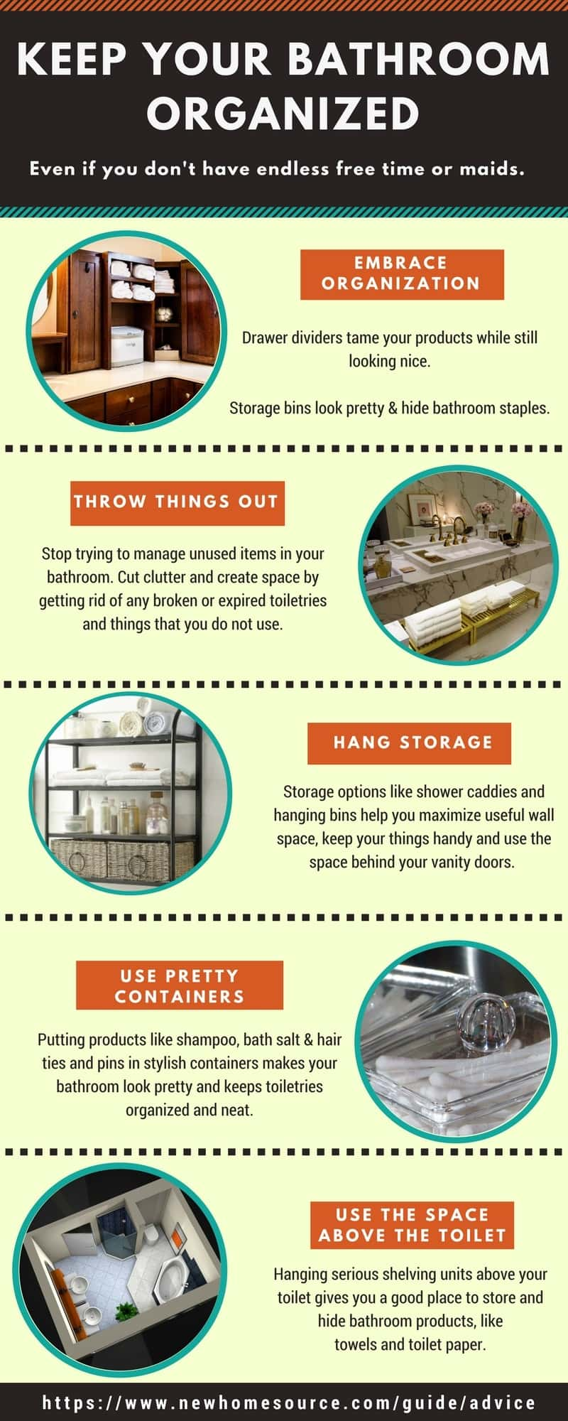 Infographic with tips on how to keep bathroom neat and organized.