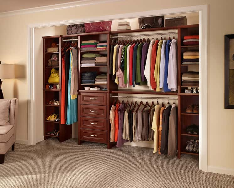 "The Impressions Closet Kit will give you a high-end look for your closet. The dark cherry wood shelving provides sleek space for any clothes or accessories. There are also three detachable hanging rods to help keep your clothes from wrinkling and allow them to breathe.<br /> <br /> ""ClosetMaid systems are usually budget-friendly and can work in most spaces, reach-in or walk-in,"" says Amy Trager, president of the Chicago chapter of the National Association of Professional Organizers. Clearly, the Impressions system can work well for any kind of closet-organizing needs.<br /> <br /> Home Depot, $139."