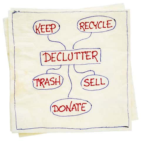 Declutter concept (keep, recycle, trash, sell, donate) handwriting on napkin isolated on white