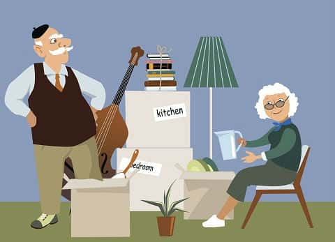 Vector illustration of elderly couple surrounded by moving boxes and unpacking at their new house.