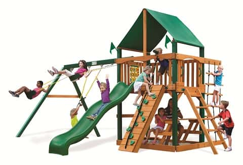 Outing III Cedar Swing Set from Gorilla PlaysetsThe Outing III Cedar Swing Set includes a canopy-covered fort that hovers above a wave slide, swings and a sandbox, among other things. Source: Gorilla Playsets/PlayNation Play Systems<br /> A ready-made play set gives you plenty of options that save time and money.<br /> Highly rated Gorilla Playsets offer a number of activities for younger children, though most kids older than 10 years old can enjoy the sets too. Because Gorilla's line is reasonably priced, you won't mind selling or disposing of it after your children outgrow it.<br /> <br /> Tip: If you're not into DIY, you can add assembly onto your order. Gorilla offers that service — not everyone does.