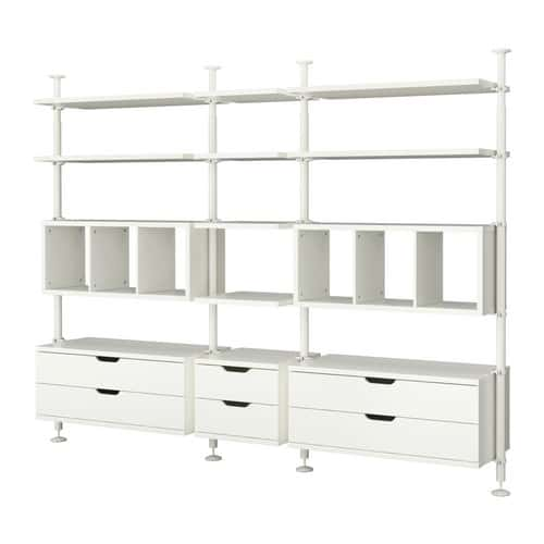 "Want a simpler wall system for your closet? The Stolmen system from Ikea provides a basic setup of shelves with an adjustable height. This way, the system is sure to fit in any closet and can vary the shelf spacing as needed. The Stolmen system also has a variety of drawers, rods and shelf dividers.<br /> <br /> ""The Stolmen is nice to have in really small spaces. It's also very budget friendly,"" Wright says. ""I'm a big believer in doing things within my clients' feasibility and this system allows you to add to it as time goes on and your budget changes."" This system has a space for any item you could possibly want to store in your closet to make it look great and keep it organized.<br /> <br /> Ikea.com for stores, $245."