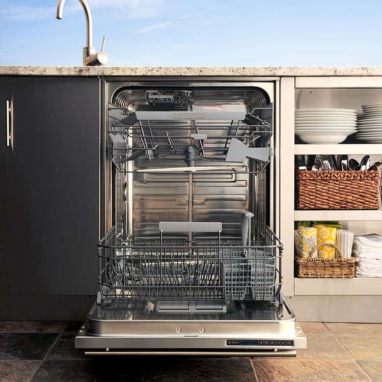 Consider the mess left behind after your big outdoor bash: the wine-stained glasses, dishes with glued-on stickiness, large items like trays and serving platters. The world's first outdoor-rated dishwasher is designed to accommodate each and every clean-up scenario.<br /> <br /> Installing an outdoor dishwasher makes the morning after so much easier than it would be if you had to lug all the dishes inside.<br /> <br /> Notable features include height-adjustable racks to handle dishes of all sizes, modular functionality on the top rack that allows for wine glasses, a filtration system that keeps the water clean throughout the cycle and quiet operation in case you have to run a quick load halfway through the party.