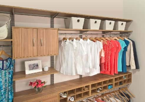 "The freedomRail brand has an unbelievable amount of variety when it comes to closet organization. Whether you want a long-hanging system, a double-hanging system or a combination of shelving and hanging, freedomRail has you covered.<br /> <br /> ""This system is easy to customize toward a multitude of lifestyle needs and functions,"" says Amanda LeBlanc, professional organizer for The Amandas and spokesperson for Organized Living. ""It's a wise investment because you can adjust and manipulate the system to go from simple to complex.""<br /> <br /> The freedomRail is easy to install and can give you more bang for your buck.<br /> <br /> OrganizedLiving.com, basic models start at $130."