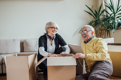 Older couple moves into new home.