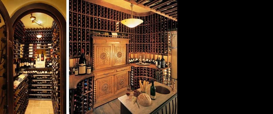 "Two California wine cellars, two different, yet classic, visions.<br /> <br /> Left: The wine cellar in this Ventura, Calif., home makes the most out of a small space with diamondLife's <a href=""http://diamondlifegear.com/reserve-wine-rack/"" target=""_blank"" title=""RESERVE"">RESERVE</a> Wine Rack Systems. The wine cellar door featuring a wrought-iron grapevine motif adds a traditional touch to the polished chrome of the wine racks.<br /> <br /> Right: With a 4,000-bottle capacity, this two-story San Diego, Calif., wine cellar — designed by Jake Austad of Vintage Cellars — is pure Old World charm with custom wine racks made from all-heart redwood with a ""dusty"" finish.<br />"