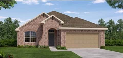 The Cascade Plan by David Weekley Homes at Gateway Parks Cottages in Forney has three bedrooms, two bathrooms and a two-car garage.