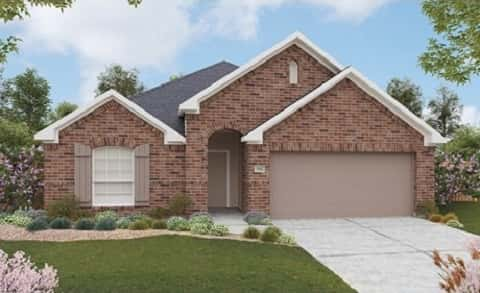 The Kimbell Plan by Gehan Homes has brick siding and attractive landscaping. By Gehan Homes at Clements Ranch in Forney, TX.