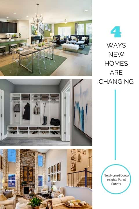 How new homes are changing infographic with three photos, one of a kitchen with an open floor plan, one of a mudroom with cubbies and cabinets, one of a spacious, two-story living room to show the types of spaces home shoppers are looking for in a new home.
